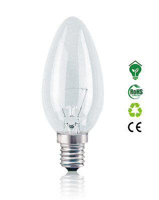 Clear Candle Light Bulb 60W 40W 25W Small Screw Cap (SES) E14 1000 Hours Life