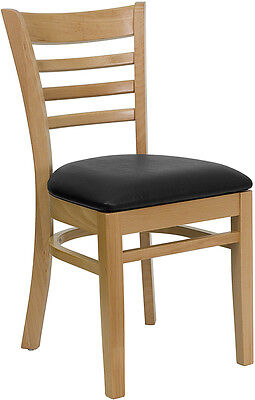 Delicieux 20 Wood Frame Natural Finish Ladder Back Restaurant Chairs W/ Black Vinyl  Seat