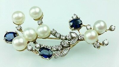 Vintage Diamond, Pearl & Blue Sapphire Brooch 14k White & Gold Beautiful Pin