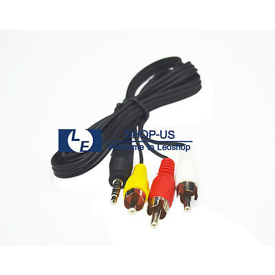 3.5mm Aux Male to 3 RCA Male Stereo Audio Sound AV Cable for TV VCR DVD NEW