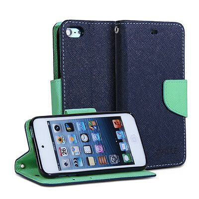 Navy Blue & Mint Green PU Leather Folio Wallet Stand Case Cover for ipod touch 5