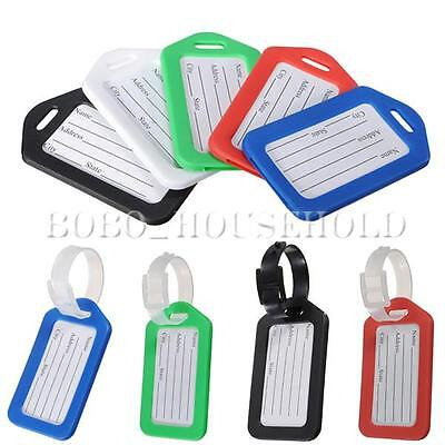 5X Red Luggage Tags Labels Strap Name Address ID Suitcase Bag Baggage Travel