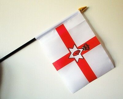 "Northern Ireland Small Hand Waving Flag 6"" X 4"" With Pole Belfast"