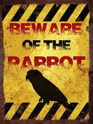 Vintage Metal Wall Sign - Beware of the parrot