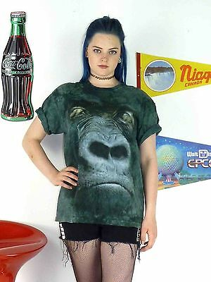 Womens Vintage 90's The Mountain Oversize Gorilla Face Hipster T-Shirt Top 10