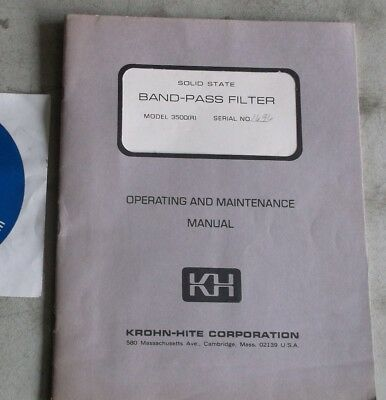 Krohn-Hite Solid State Band-Pass Filter 3500