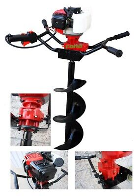 """2HP Two Man Post Earth Planting 52cc Gas Hole Digger w/ 6"""" and 12"""" Auger Bits"""