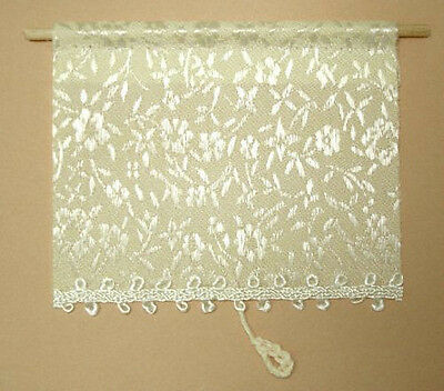 Dollhouse Miniature Ecru White Floral Window Shade Miniatures for Doll House