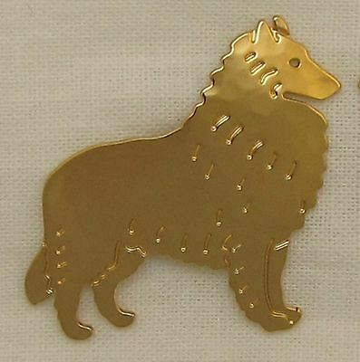Belgian Tervuren Sheepdog Jewelry Gold Clutch Pin