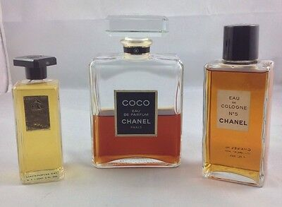 A GROUP OF 2 VINTAGE CHANEL PERFUME BOTTLES AND 1 LANVIN BOTTLE