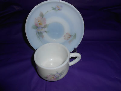 La Opala Milk Glass Pastel Flowers Cup and Saucer