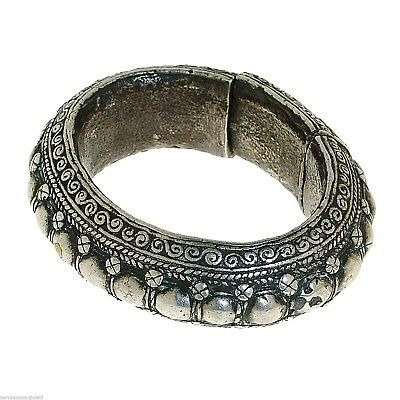 (0128) Rare Silver Bangle Batak Toba, Sumatra 19th century