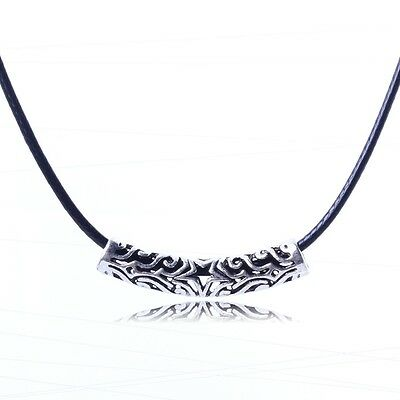 Hollow out tibet tribal silver vintage retro style slide pendant rope necklace