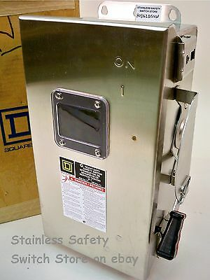 Square D Stainless HU362DSVW 60 amp 600 vac 3 phase NEW Non-Fused Safety Switch