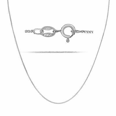 Sterling Silver .925 1mm Thin Italian Box Chain Necklace - Choose Length