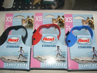 Flexi Standard Cord Retractable Dog, pup cat Lead Leader  X Small red blue Black