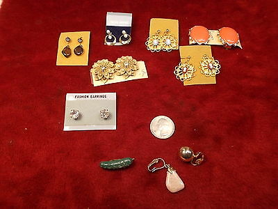 Lot Of Nos Old Vtg Costume Earrings, Incl Natural Stones, Cameos, Rhinestones+++