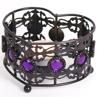Tealight candle holder - Gothic style with glass effect purple gem inserts.