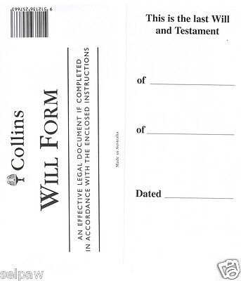 2 x Collins Australian DIY Will Kit, Includes Forms/Envelopes and instructions