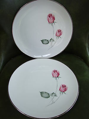 "2 Hutschenreuther 10.25"" American Beauty ROSES Dinner Plates Platinum Trim MINT"