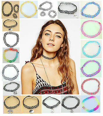 3Pcs or 2 Set Vintage Stretch Tattoo Choker Necklace Retro Gothic Punk Elastic