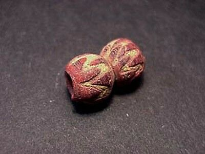 Ancient Mosaic Glass Bead Zigzag Design Egyptian Late Period 300-100 Bc