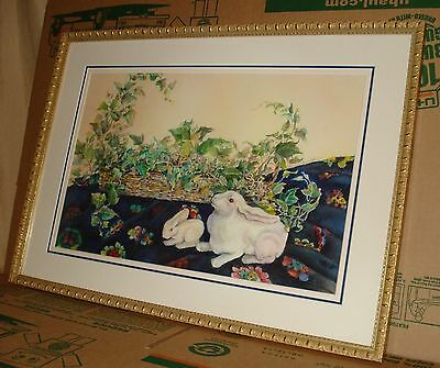 Signed Anne Smith Bunny Rabbits Framed (maybe the listed Australian Artist)