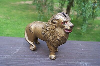 Antique CAST IRON LION STILL BANK By A.C. Williams  ~ Great Condition !!