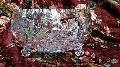 Vintage Cut Crystal Glass Czech Bowl FOOTED FRUIT DISPLAY HOLIDAY CANDY