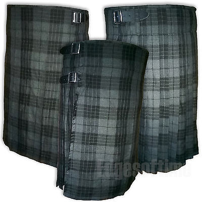 Scottish Highland Grey Watch Tartan Kilt With 3 Leather Belts And Metal Buckles