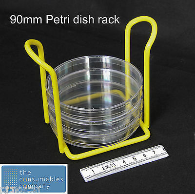 Petri Dish storage rack for 90mm round dishes - strong coated metal construction