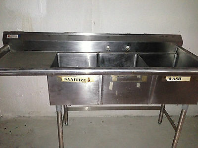 USED Commercial Stainless Steel 3 Compartment Sink