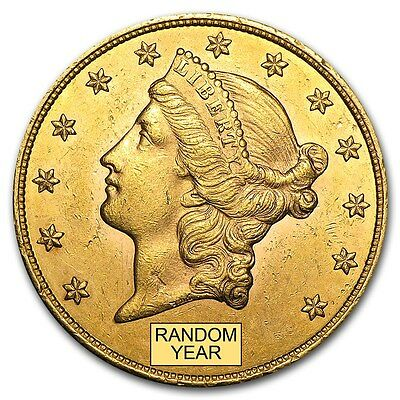 $20 Liberty Gold Double Eagle Pre-33 Gold - Random Year - Almost Uncirculated