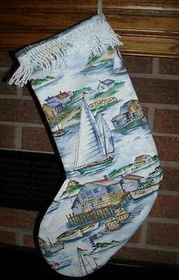 HANDMADE CHRISTMAS STOCKING-SAIL BOAT, WHARF, MARINA