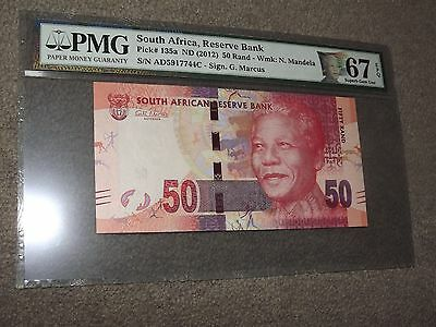 South Africa 50 Rand Mandela Note w/ Special Mandela Label PMG 67 EPQ Pick#135a
