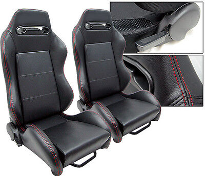 New 1 Pair Black Leather + Red Stitch Racing Seats All Ford **