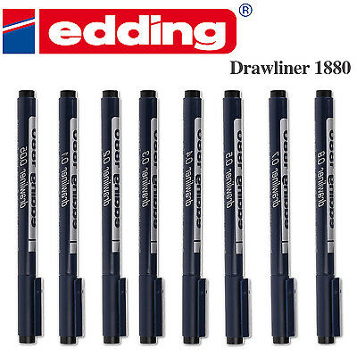 Edding 1880 Pigment Liner Fineliners Drawing Pens 0.0.5mm to 0.7mm