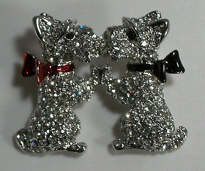 Two Scottie Dog Kissing Black Red Clear Pave Crystals Enamel Pin Brooch