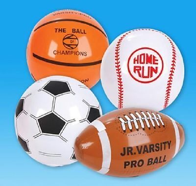 "4 INFLATABLE SPORTS BEACH BALLS 16"" Blowup Football Soccer+ #AA48 Free Shipping"