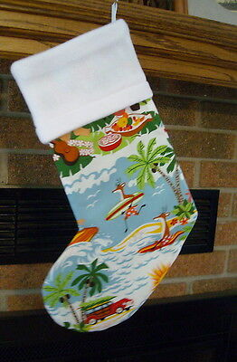 HANDMADE CHRISTMAS STOCKING- TROPICAL SURFING REINDEER