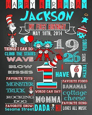 Birthday Chalkboard poster DOCTOR SEUSS milestone sign first 1st 2nd any age #21