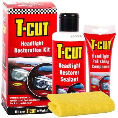 T-Cut Headlight Restoration Kit Polishing Compound And Restorer Sealant Headlamp