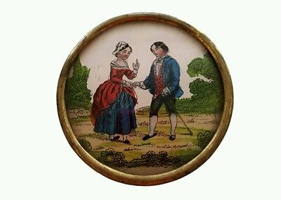 Antique BOX Reverse hand painted Glass French Bonboniere 1800's Patch Trinket