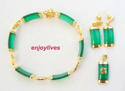 Green Jade Yellow Gold Plated Fortune Pendant Necklace Bracelet Earrings Set