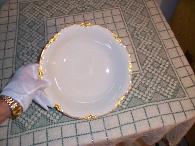 "Hutschenreuther Selb Bavaria China Gold Peerless Serving Bowl  10"" White Racine"
