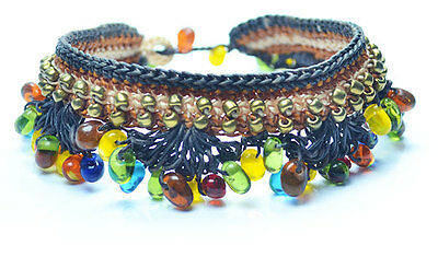 Handmade Anklet, Ankle chain with Red Stones, Made in Chiang Mai