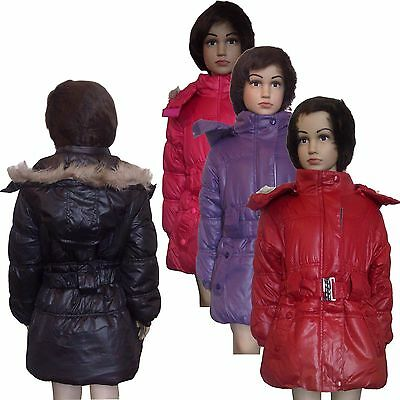 New Girls WARM Winter Jacket Padded Belted Coat Faux Fur Hood Anorak 3-14ys #41