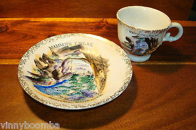 Vintage Cup & Saucer Souvenir From Kentucky Mammoth Cave Tea Cup Hand Painted !!