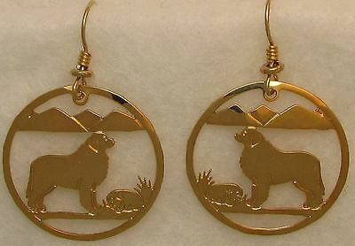 Great Pyrenees Jewelry Gold Dangle Earrings by Touchstone
