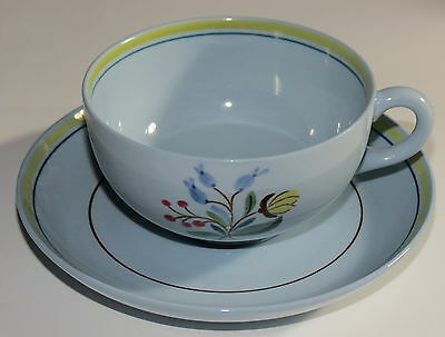 6 Maastricht Petrus Regout Hand Painted Blue/Yellow Cups & Saucer MINT!